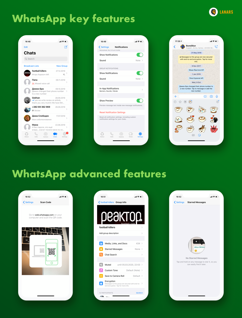 WhatsApp advanced features, screenshots