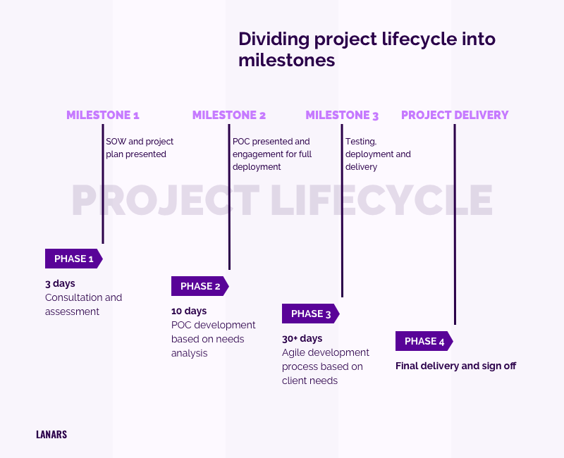 Dividing project lifecycle into milestones